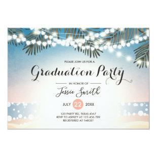 Summer Sunset Graduation Invitation String Lights