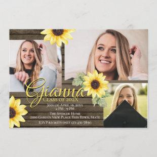 Sunflower and Barn Wood Graduate Photo Invitation