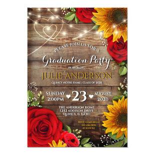 Sunflower and Rose Rustic Graduation Party Invitation