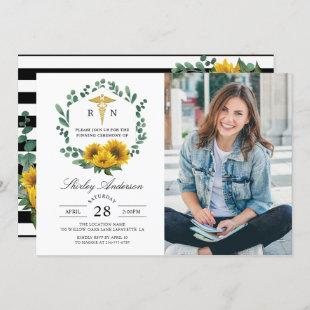 Sunflower Nurse Graduation Pinning Ceremony Photo Invitation