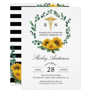 Sunflower RN Nursing Graduation Pinning Ceremony Invitation
