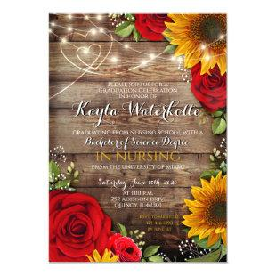 Sunflower & Roses Rustic Wood Graduation Invitation