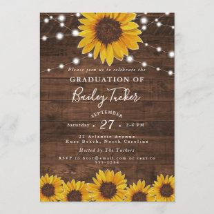 Sunflower String Lights Rustic Graduation Invitation