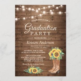 Sunflowers Boots String Lights Graduation Party