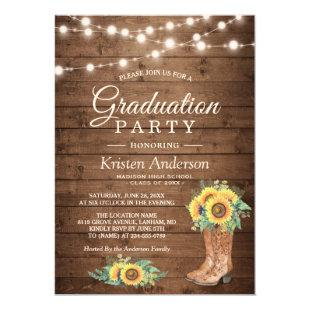Sunflowers Boots String Lights Graduation Party Invitation