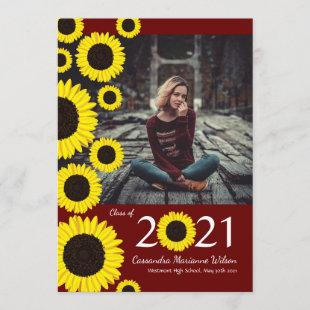 Sunflowers Country Maroon Graduation Announcement