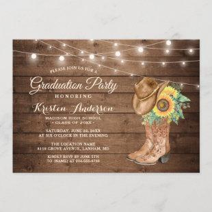 Sunflowers Cowgirl Boots Graduation Party