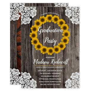 Sunflowers | Lace Photo Graduation Party Invitation