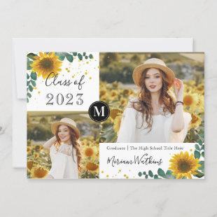 Sunflowers Monogram Photo Graduation Announcement