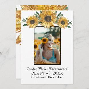 Sunflowers photo frame Modern rustic graduation  Announcement