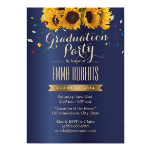 Sunflowers Royal Blue Confetti Graduation Party Invitation