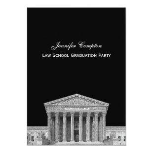 Supreme Court Etchd DIY BG Color V Law School Grad Invitation