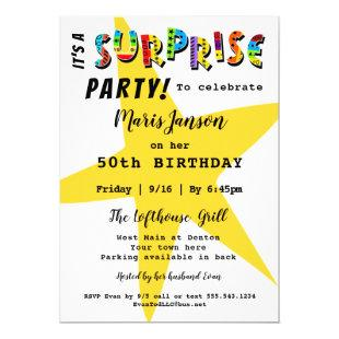 SURPRISE BIRTHDAY ANNIVERSARY ANY PARTY INVITATION