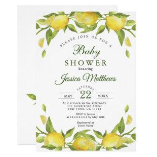 Sweet Lemons & Greenery Watercolor Baby Shower Invitation