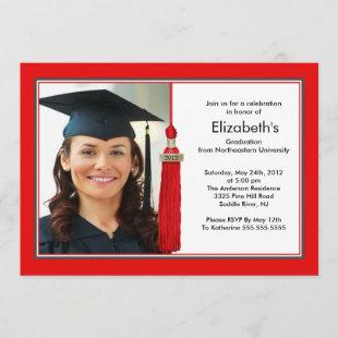 Tassel Photo Graduation Invitation Red & White