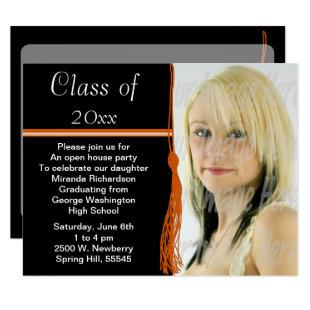 Tassel Photo Graduation Party Orange and Black Invitation