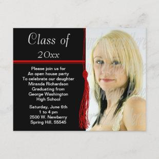 Tassel Photo Graduation Party Red and Black Invitation