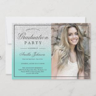 Teal Blue Silver Glitter ombre Graduation Party
