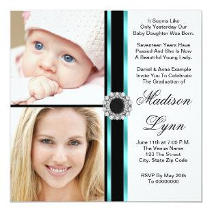 Teal Blue Then and Now Photo Graduation Invitation