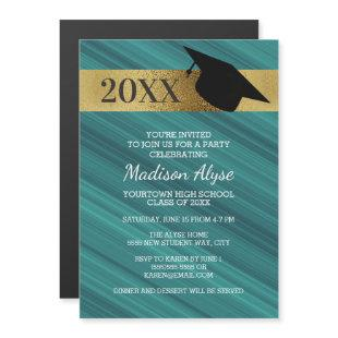 Teal Gold Black Graduation Party Magnetic Invitation
