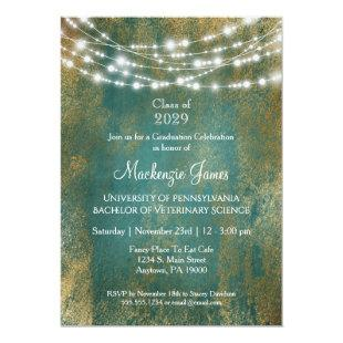 Teal Gold Lights Graduation Party Invitation