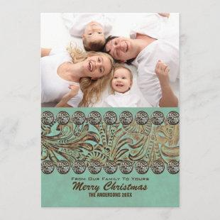 Teal Leather Country Western Christmas Photo Holiday Card