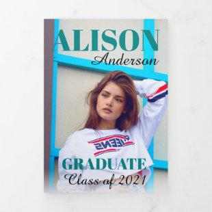 Teal typography Class of 2021 graduation photo Tri-Fold Announcement