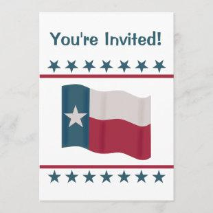 Texas Lone Star Flag Red White Blue Party Event Invitation