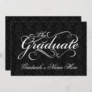 The Graduate, Elegant Black Damask Graduation Invitation