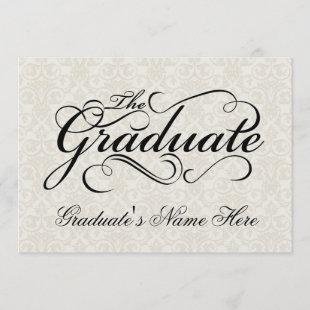 The Graduate, Elegant Ivory Damask Graduation Invitation