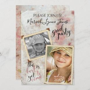 Then and Now Graduation Vintage PHOTO Frames Invitation