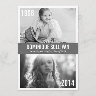 THEN AND NOW PHOTO | GRADUATION PARTY INVITATION
