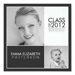 Then Now Black & White Graduation Party Invitation