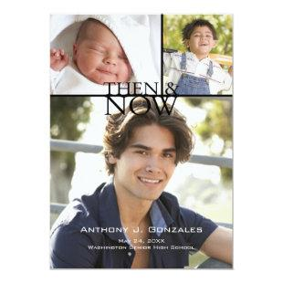 Then & Now Graduation Announcement Black