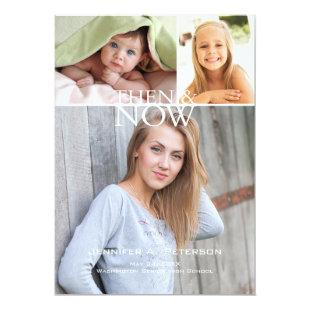 Then & Now Graduation Announcement White