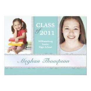 Then & Now Jeweled Photo Graduation Announcement
