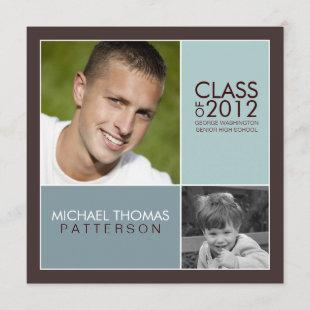 Then Now Modern Block Graduation Party Invitation