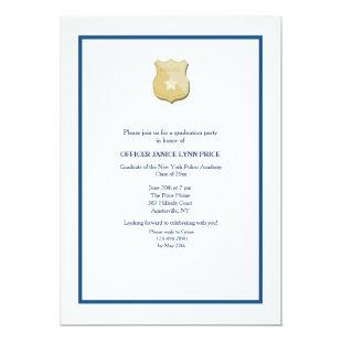 Thin Blue Line Police Academy Graduation Party Invitation