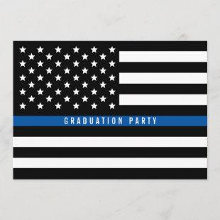 Thin Blue Line Police Flag Graduation Party Invitation