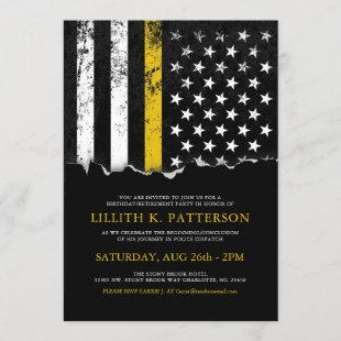 Thin Gold Line Flag Police Dispatch Party|Event Invitation