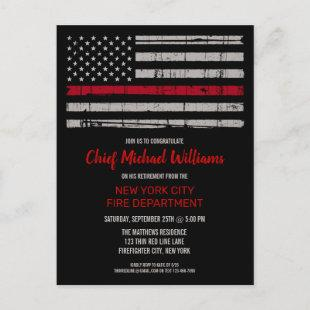 Thin Red Line Fire Academy Firefighter Retirement  Postcard