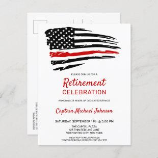 Thin Red Line Firefighter Retirement Party  Postcard