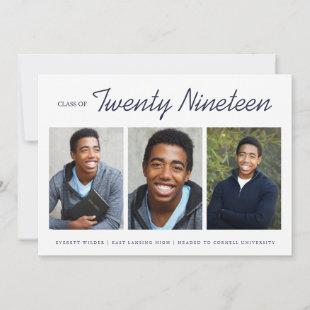 Three Photo Modern Graduation Announcement | Navy