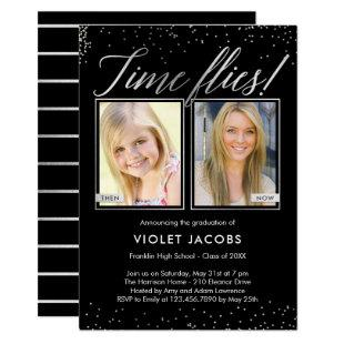 Time Flies EDITABLE COLOR Graduation Invitation