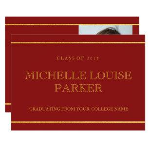 Timeless Gold Cardinal Red  Graduation Invitation