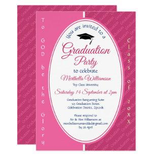 TO GOD BE THE GLORY Custom Pink Graduation Invitation