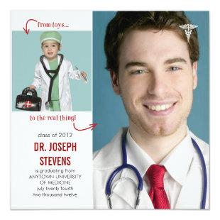 Toys to Real Doctor Medical Graduation Invitation
