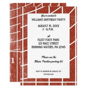 Track and Field Party Invitation Red Running Track