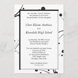 Traditional-Black floral graduation invitation
