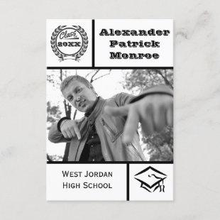Traditional Black & White-3x5Graduation Invitation